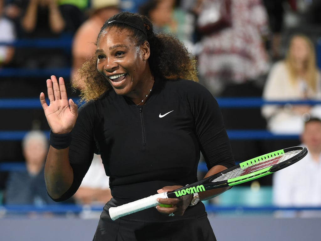 Serena Williams of United States smiles during her Ladies Final match against Jelena Ostapenko of Latvia on day three of the Mubadala World Tennis Championship at International Tennis Centre Zayed Sports City in Abu Dhabi, United Arab Emirates.