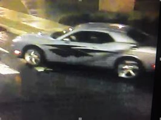 2011 silver Dodge Charger registered to Donald W. Maxwell, Jr., who police are seeking for allegedly exposing himself in public early Wednesday morning.