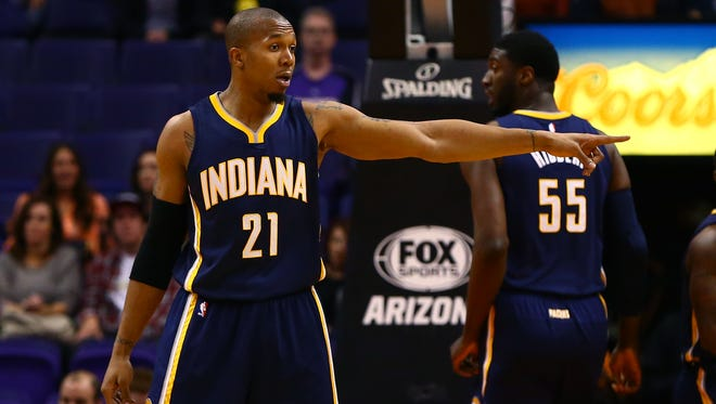 Dec 2, 2014; Phoenix, AZ, USA; Indiana Pacers forward David West (21) reacts in the first quarter against the Phoenix Suns at US Airways Center. Mandatory Credit: Mark J. Rebilas-USA TODAY Sports