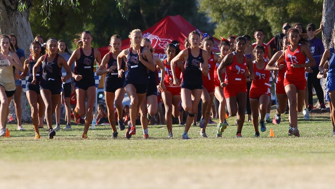 Girls Desert Valley League cross country finals starts at Demuth Park in Palm Springs, California on November 1, 2017.