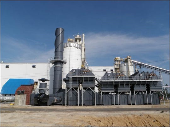 The gray device in the foreground is a six-chambered regenerative thermal oxidizer installed by NESTEC at a wood pellet mill in Georgia. Jim Nester, NESTEC president, said the device at Perdue would be less than a third the size of this one.