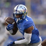 Kentucky wide receiver Ryan Timmons makes one of his five catches for a career-high 114 yards against Mississippi State.