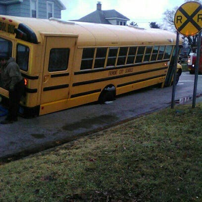 While at a stop, a Fremont City Schools bus sank into
