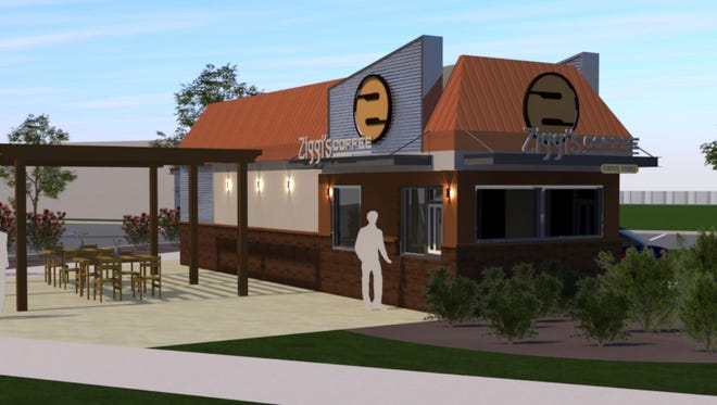 This rendering shows the proposed look of the Ziggi's coffee location planned for South College Avenue in Fort Collins.