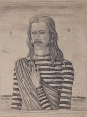 """""""Myself with Long Hair"""" is a graphite on paper drawing by John Wilde."""