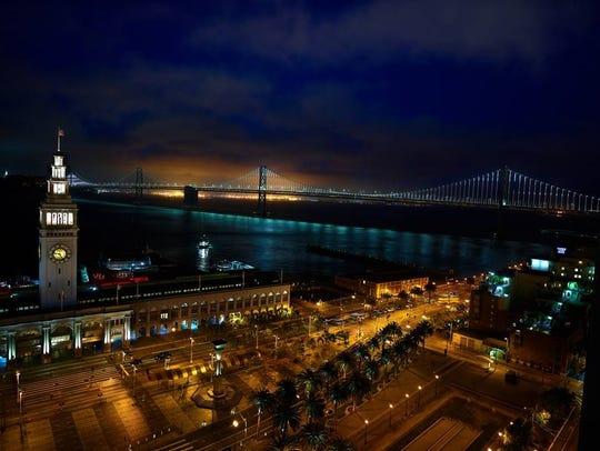 San Francisco Bay at night.