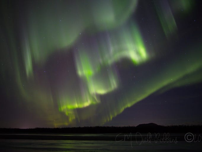 In south Anchorage, Alaska, a halo borealis creates