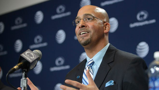 James Franklin is introduced as Penn State's new football coach during a news conference Saturday.