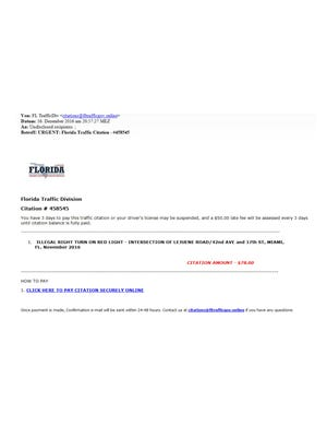 Example of email scam.