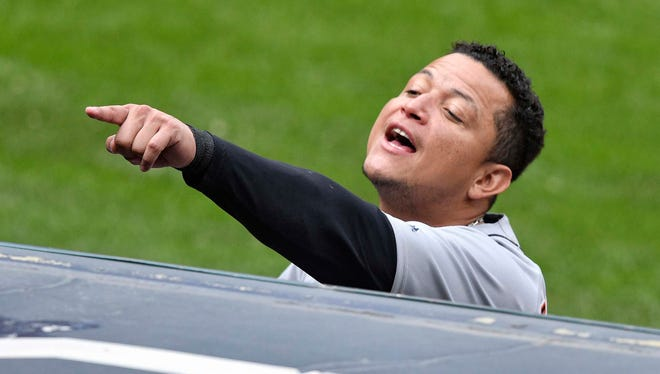 Sep 13, 2017; Cleveland, OH, USA; Tigers' Miguel Cabrera talks to a fan in the stands in the third inning against the Indians at Progressive Field.