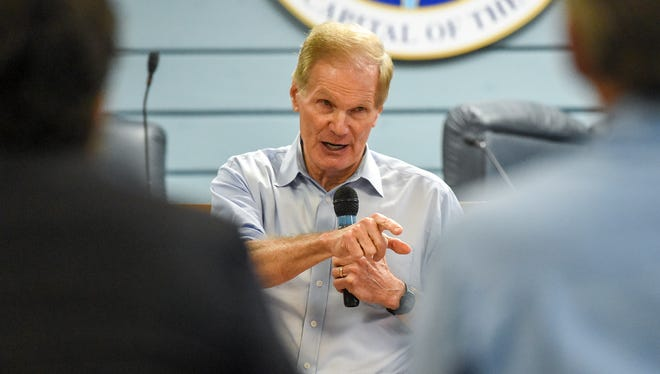 Senior U.S. Senator for Florida Bill Nelson discusses toxic discharges in local waterways and ways to stop them Thursday, July 5, 2018, with city, county, and state officials, ecological and medical experts, and local business owners and residents during a public meeting at Stuart City Hall in downtown Stuart.
