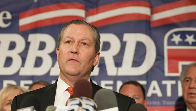 AAlabama House Speaker Mike Hubbard speaks to members of the media on Tuesday, Oct. 21, 2014, in Auburn, Ala. Speaker Mike Hubbard was accused of 23 felony counts of using his office for private gain.