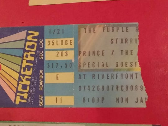 A ticket from Prince's Purple Rain tour to Cincinnati in January 1985 at the Riverfront Coliseum.