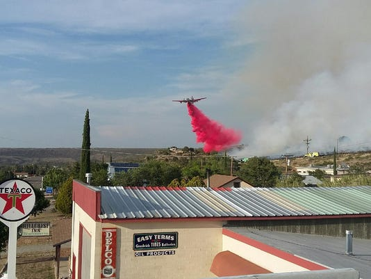 Air-tanker drop over Yarnell