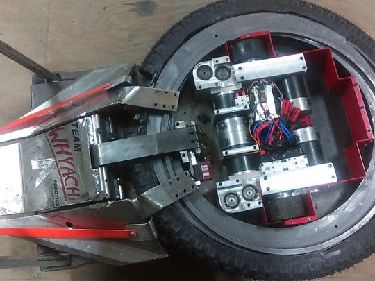 """Dorchester-based Team Whyachi's """"Warrior Clan"""" robot featured in season one and two of ABC's """"BattleBots"""" reality series."""
