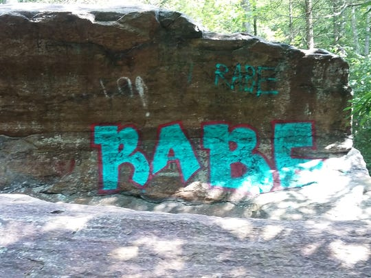 Graffiti on a rock at Pine Meadow Lake taken Aug. 21.