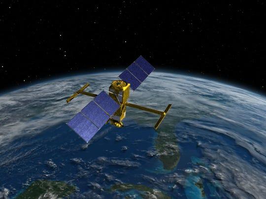 Artist's rendering of NASA's Surface Water and Ocean Topography (SWOT) spacecraft.