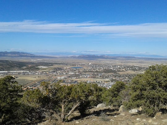 A view of Cedar City from the road to Cedar Highlands,