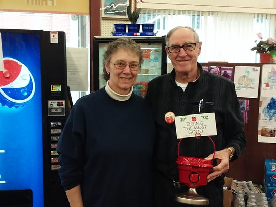 "Kettle matches come in every size. A man known only as ""Mike"" visited Kitz & Pfeil True Value, 40 E. First St., and actively rallied donations for the little Red Kettle perched aside the checkout, then matched the $131 he'd collected. Pictured are Kitz & Pfeil Manager Kay Schustedt & Salvation Army Advisory Board member John Pelletier. Pelletier coordinates 87 mini Red Kettles for The Salvation Army at Christmas."