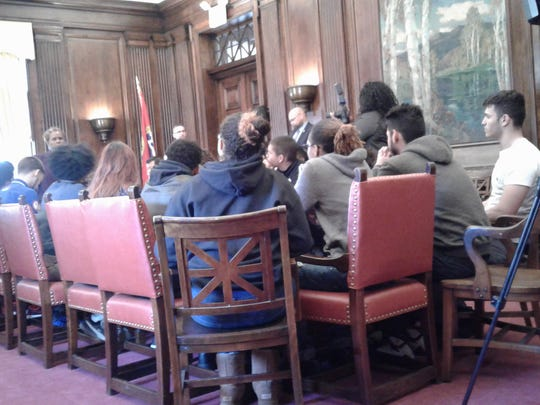 Student representatives met with city officials and board members at Plainfield City Hall on Thursday.