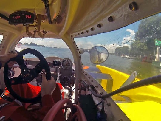 A look from inside one of the hydroplane boats that
