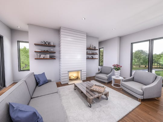 The living room of townhome at Alabaster West with