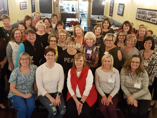 Tri Kappa - The Boonville Gamma Iota Chapter of Tri Kappa celebrated their 95th Anniversary in December at Commander's Grill in Boonville.  Tri Kappa, a philanthropic organization that only exists within Indiana, is a nonprofit that works to help Indiana residents.  Seated in the front are the officers for the 2017-2019 biennium: Tammy Miller, Heidi Lance, Cyndi Fortune, Stacy Davis and Angie McConnell.
