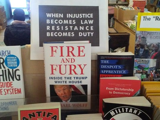 "The last copy of ""Fire and Fury"" in Vermont on Saturday, Jan. 6, 2018, seen fleetingly on the shelves of Everyone's Bookshop in Battleboro, a family-owned independent bookstore specializing in books about social change."