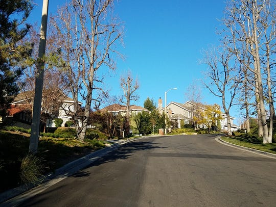 Homes are nestled in the hills in the Westlake Trails