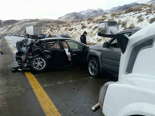 A photo of the crash on Interstate 80 that left eight people hospitalized on Feb. 22, 2018.