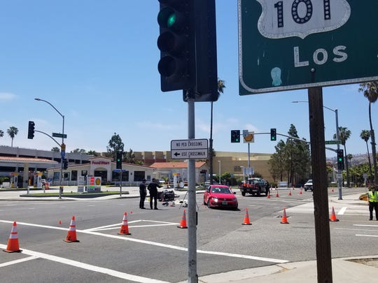 Traffic investigators were at the scene of a fatal crash between a motorcycle and a car Tuesday afternoon. The crash happened at the intersection of East Harbor Boulevard and Monmouth Way in Ventura at the Seaward Avenue offramp from southbound Highway 101.
