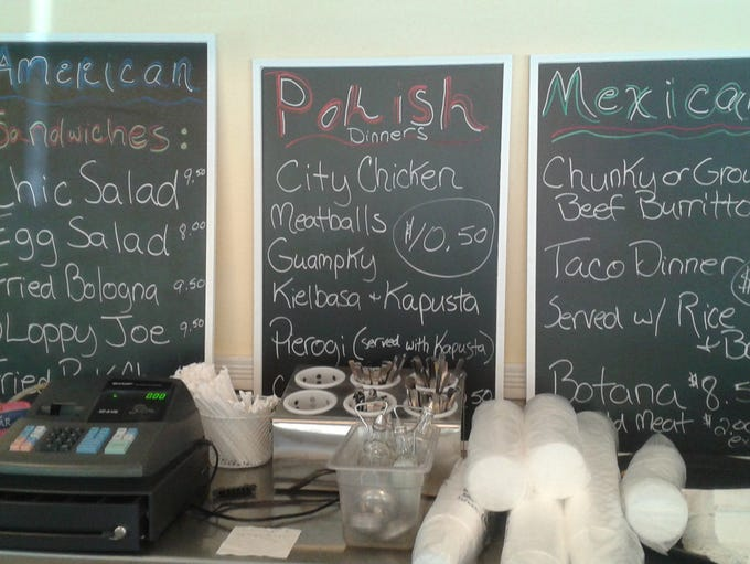 The menu board at Czapski's Kitchen & Catering features