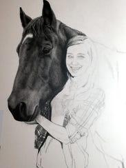 Artist Linda Ferguson begin drawing on the left and