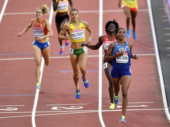United States' Ajee Wilson of Neptune leads the field to the finish line during her Women's 800 meters heat at the World Athletics Championships in London Thursday.
