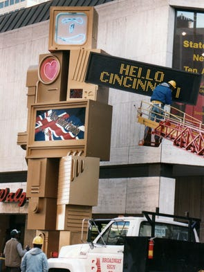 "The original installation of Nam June Paik's ""Metrobot"" on Fifth Street, from October 1988. The 26-foot robot sculpture was a gift to the Contemporary Arts Center and the people of Cincinnati from Albert W. Vontz Jr., on the occasion of the city's bicentennial and the CAC's bicentennial. Vontz's son and daughter-in-law have been involved in helping restore Metrobot."
