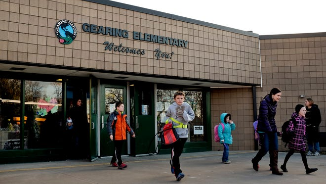 Students are dismissed Wednesday at Gearing Elementary School in St. Clair.