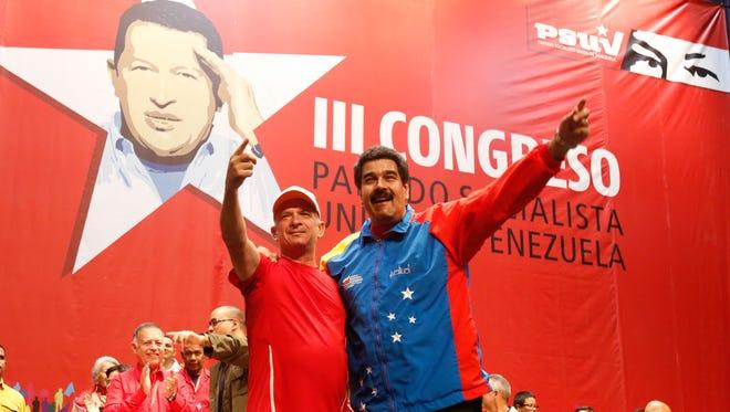 Venezuelan President Nicolas Maduro, right, and Venezuelan retired Major General Hugo Carvajal in Caracas on Sunday.