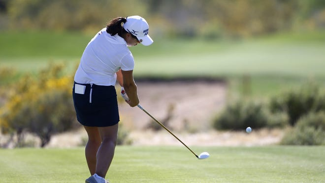 Sei Young Kim of South Korea tees off on the 8th hole during the third round of the LPGA JTBC Founders Cup at Wildfire Golf Club on March 19, 2016 in Phoenix, Arizona.