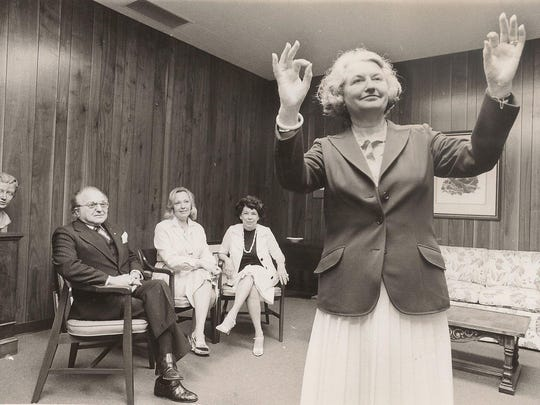 Virginia Shehee demonstrating how she will conduct the Shreveport Symphony Orchestra in a May 1980 tribute to Maestro John Shenaut.