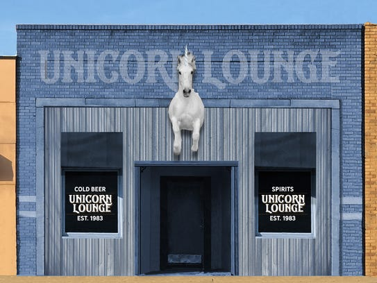 A rendering of what the exterior of the Unicorn Lounge