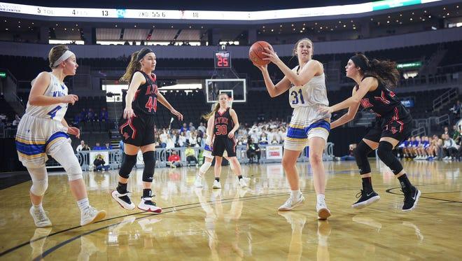 O'Gorman's Emma Ronsiek goes against Brandon Valley defense during the game Thursday, March 15, at the Denny Sanford Premier Center.