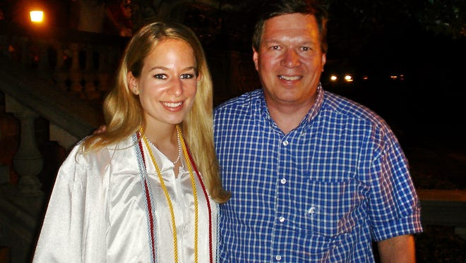 In this handout photo provided by Beth Twitty, Natalee Holloway (left) stands with her father Dave Holloway on her graduation day from Mountain Brook High School in Mountain Brook, Ala., in 2005.