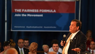 Governor Christie talking about his school-funding plan during a town hall meeting in Wayne in October.