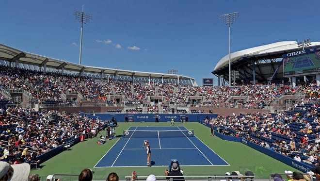 A general view of the match between Caroline Wozniacki of Denmark (bottom) and Taylor Townsend of the United States (top) on the new grandstand court during the 2016 U.S. Open at USTA Billie Jean King National Tennis Center on Aug. 29.