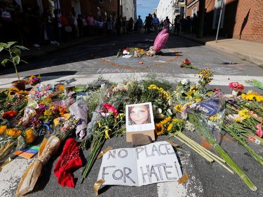 Memorial for Heather Heyer in Charlottesville, Va.,