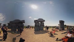 Stand in 'Carhenge' during the eclipse in 360 degrees
