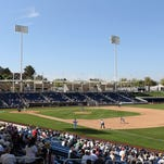 General view of action between the Milwaukee Brewers and the San Diego Padres during the spring training game at Maryvale Baseball Park on March 7, 2014 in Phoenix, Arizona.