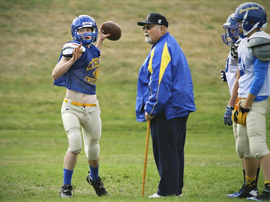 Hall of fame football coach Dean Taylor was coaching St. Cloud Cathedral in this practice shot from 2013. He coached Sartell to a state title in 1994, and then coached St. Cloud Cathedral for four years.
