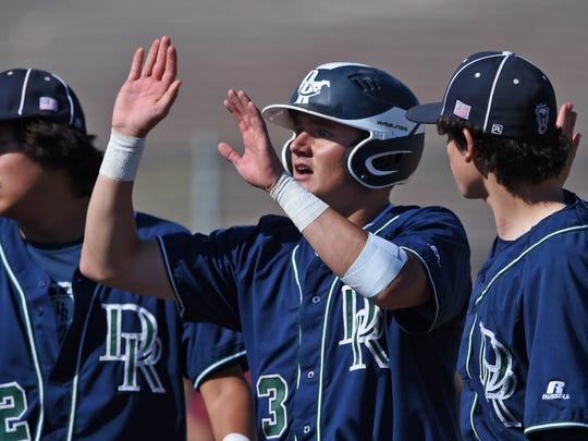 Damonte's Jerry Thomas , who hit a triple, gets high-fives