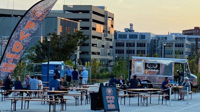 The Guild PVD has opened a pop-up beer and food garden, occupying 4,200 square feet in the Providence Innovation District Park, by the pedestrian bridge.